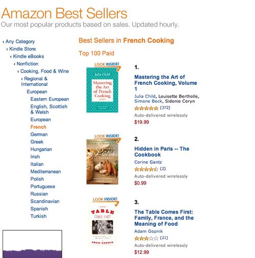 Amazon French cookbooks list